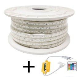 LED Strip 10W Dimmable 220V AC SMD 5050 60 LED/m RGB IP65 - 12mm