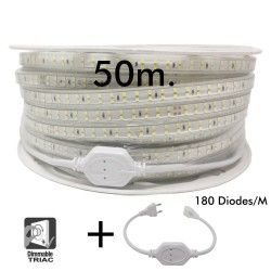 LED Strip 15W Dimmable 220V AC SMD 2835 180 LED/m Warm White IP65 - 12mm